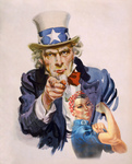 Uncle Sam and Rosie the Riveter