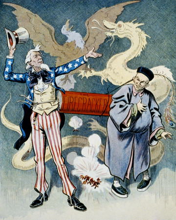 Free Photo: Uncle Sam and a Chinese Man With a Firecracker, Dragon and Eagle