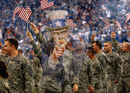 Free Photo: Uncle Sam Merged With Soldiers Waving American Flags