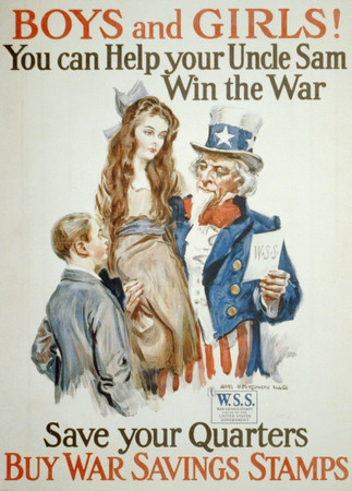 Free Photo: Uncle Sam With Boy and Girl